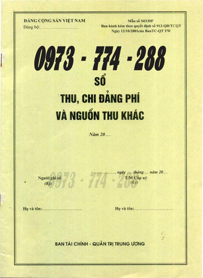 Bán sổ ghi biên bản sinh hoạt chi ủy