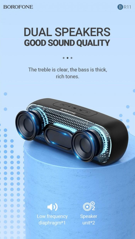Loa Bluetooth 5.0 BR11 Borofone chính hãng,hỗ trợ thẻ nhớ,usb,FM6