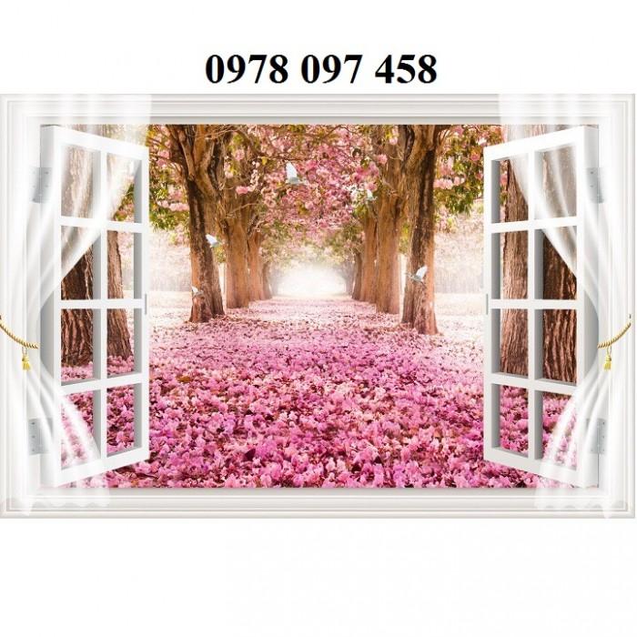 Tranh dán tường - tranh gạch 3D cửa sổ vườn hoa1