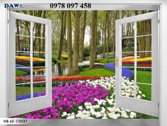 Tranh dán tường - tranh gạch 3D cửa sổ vườn hoa0