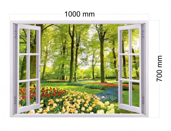Tranh dán tường - tranh gạch 3D cửa sổ vườn hoa2