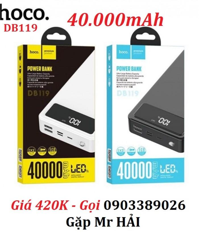 Pin sạc dự phòng HOCO DB119 dung lượng lớn đến 40.000mAh Vật liệu: Chất chống cháy ABS + PC, chất lượng pin bền bĩ.