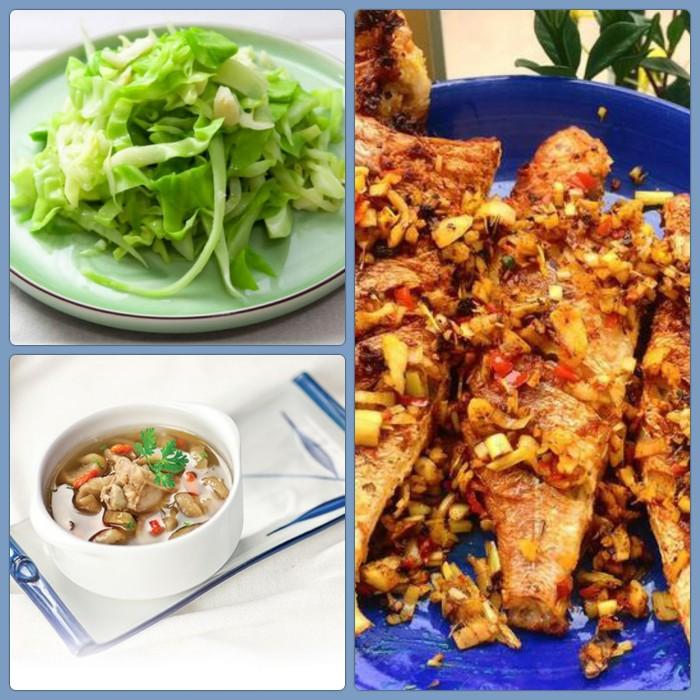 Combo: Cá hường chiên sả , Canh củ cải muối, Bắp cải xào0