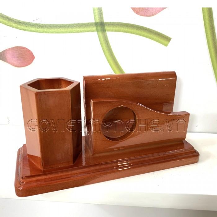 Hộp đựng card visit gỗ để bàn làm việc - Gỗ Thông tự nhiên