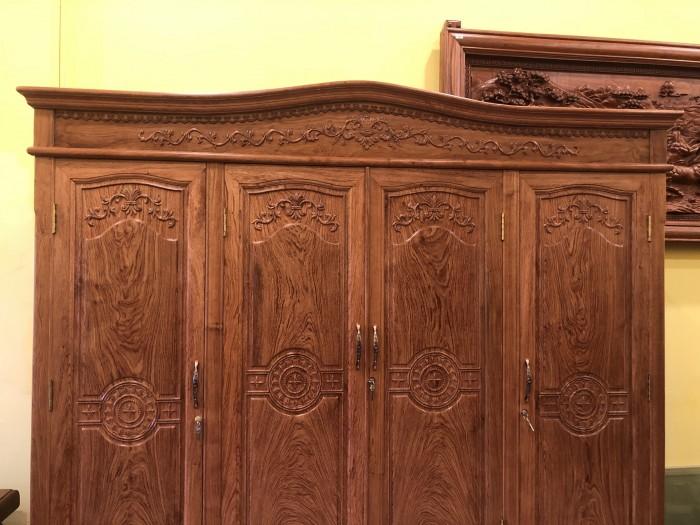 Tủ quần áo 3 buồng 4 cánh gỗ hương đá vân cực đẹp6
