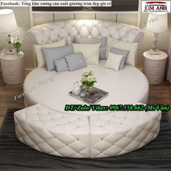 giường tròn màu trắng 3