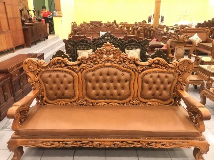 Bộ sofa hoàng gia gỗ gõ đỏ bọc da bò xịn cao cấp0
