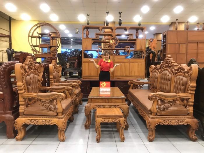 Bộ sofa hoàng gia gỗ gõ đỏ bọc da bò xịn cao cấp1