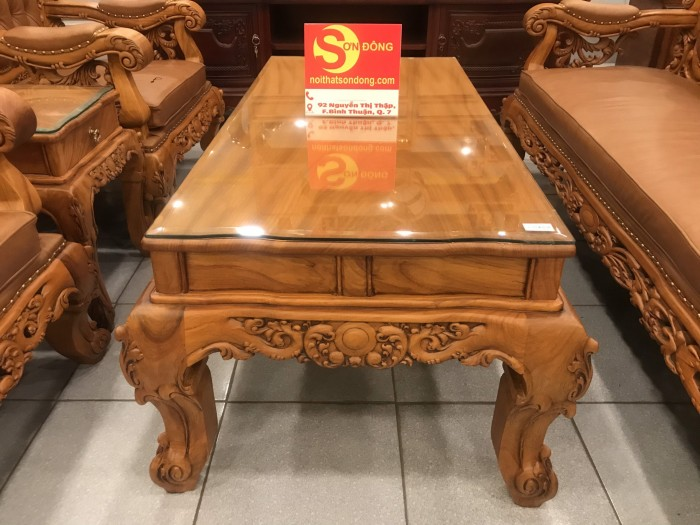 Bộ sofa hoàng gia gỗ gõ đỏ bọc da bò xịn cao cấp4