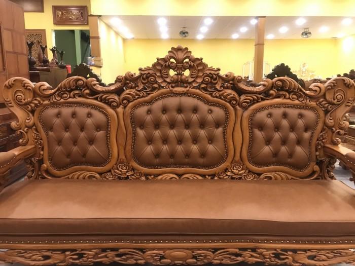 Bộ sofa hoàng gia gỗ gõ đỏ bọc da bò xịn cao cấp2