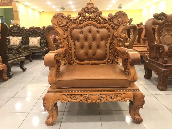 Bộ sofa hoàng gia gỗ gõ đỏ bọc da bò xịn cao cấp3
