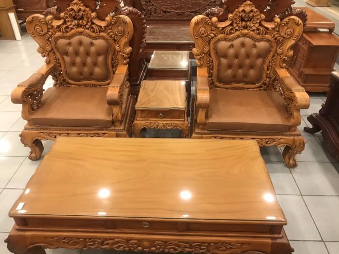 Bộ sofa hoàng gia gỗ gõ đỏ bọc da bò xịn cao cấp6
