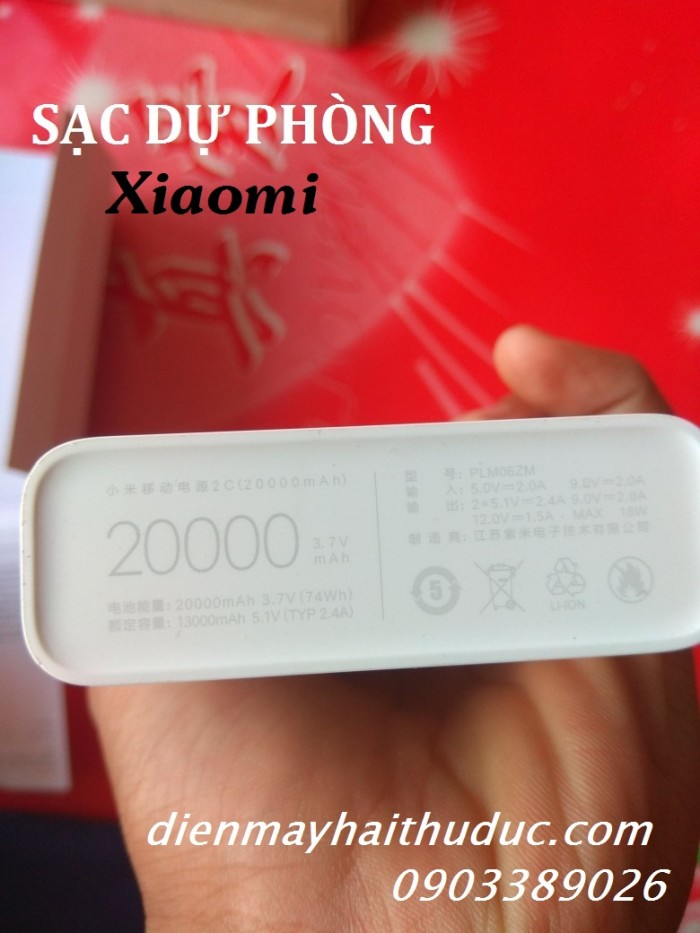Pin dự phòng Xiaomi 20.000mAh Vỏ bằng nhựa thay bằng vỏ nhôm nguyên khối (trọng lượng siêu nhẹ)
