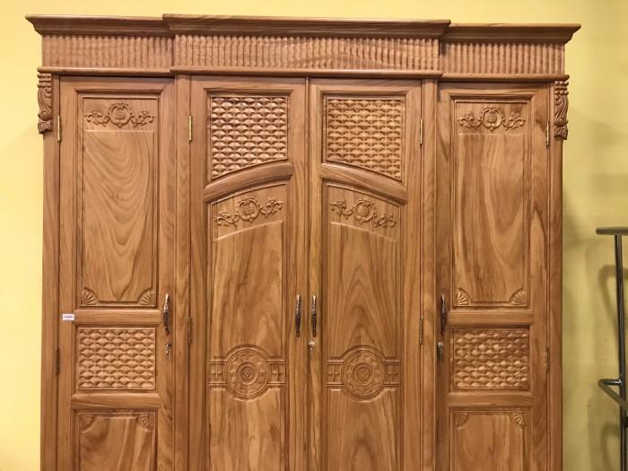 Tủ quần áo thông minh 3 buồng 4 cánh gỗ gõ đỏ cao cấp1