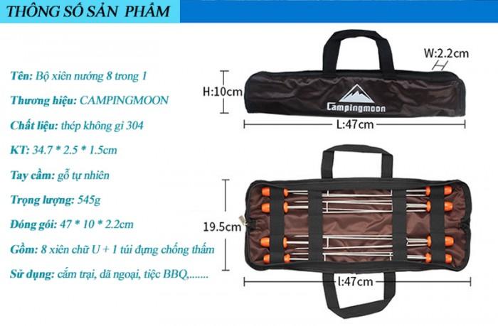 Xiên nướng inox 8 món cao cấp chữ U dài 35cm tiện lợi đa năng (có túi đựng)3