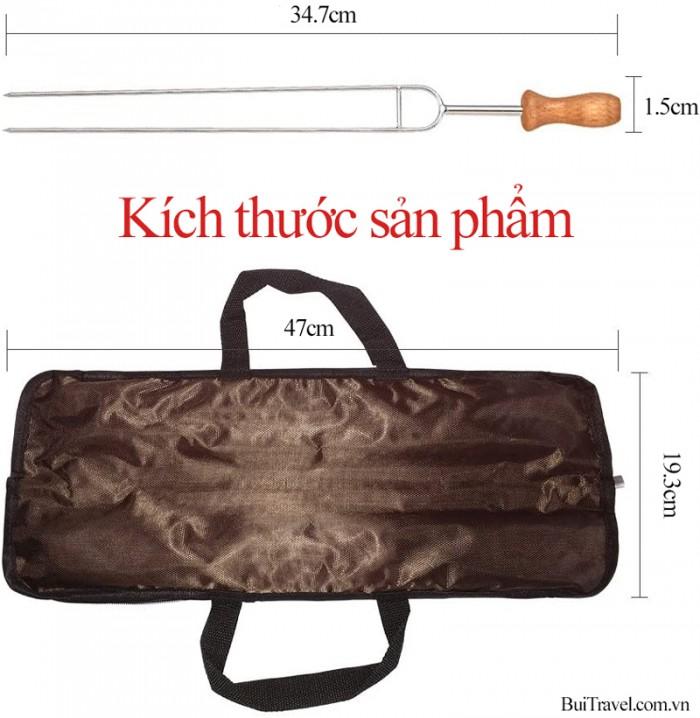 Xiên nướng inox 8 món cao cấp chữ U dài 35cm tiện lợi đa năng (có túi đựng)5