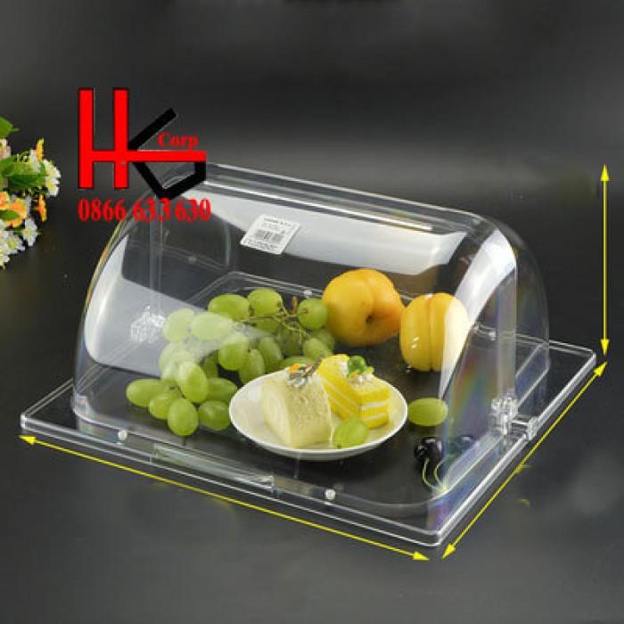 Combo khay và nắp nhựa trưng bày buffet