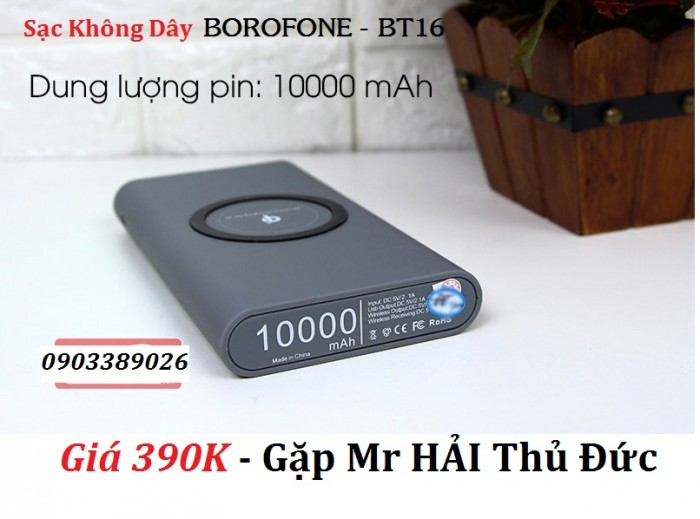 Pin dự phòng sạc không dây Borofone BT16 Sạc được cùng lúc nhiều thiết bị có dây và không dây