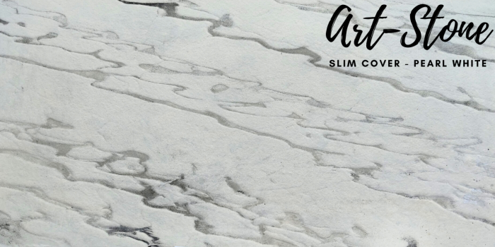 Đá ốp tường mỏng cao cấp Art Stone - Khổ 610mmx1220mm - Màu sắc: Slim Cover_Pearl White - Đá mỏng khoảng 2mm - Vị trí sử dụng: đá ốp tường, đá ốp trần, ốp bếp, phòng ngủ, phòng khách, vách,.... - Đá ốp tường được bảo hành lên đến 5 năm chính hãng.1