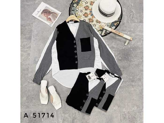 Áo kiểu nữ phối màu tay dài cao cấp SC3