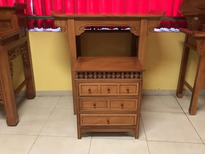 Bộ bàn thờ gia tiên gồm bàn thờ và tủ nhang gỗ gõ đỏ 100% giá rẻ0