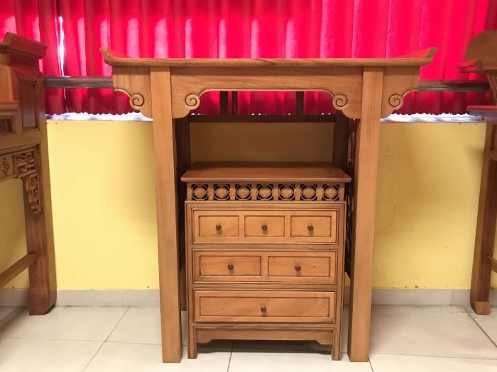 Bộ bàn thờ gia tiên gồm bàn thờ và tủ nhang gỗ gõ đỏ 100% giá rẻ5