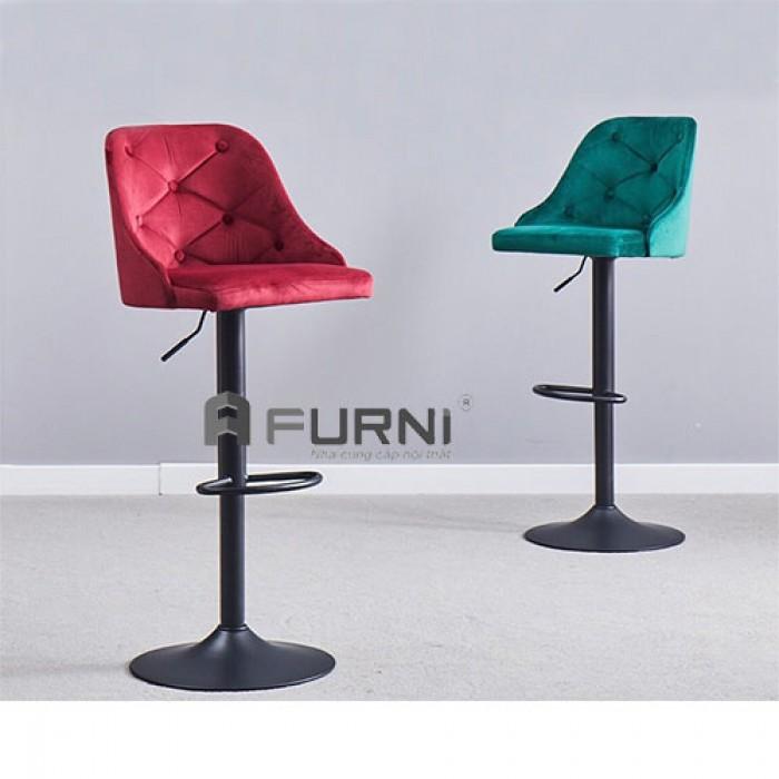 CB2265A-F | Ghế bar bọc nhung chân sắt sơn đen cho Spa nhập khẩu TPHCM0