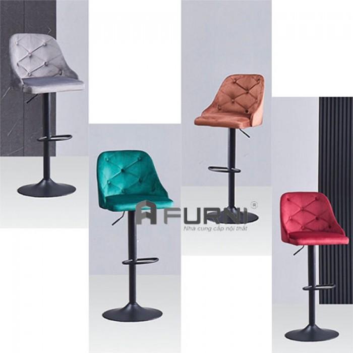 CB2265A-F | Ghế bar bọc nhung chân sắt sơn đen cho Spa nhập khẩu TPHCM2