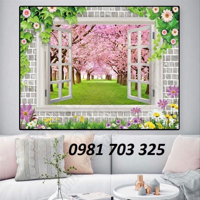 Tranh gạch 3D hoa đào ốp tường phòng khách0