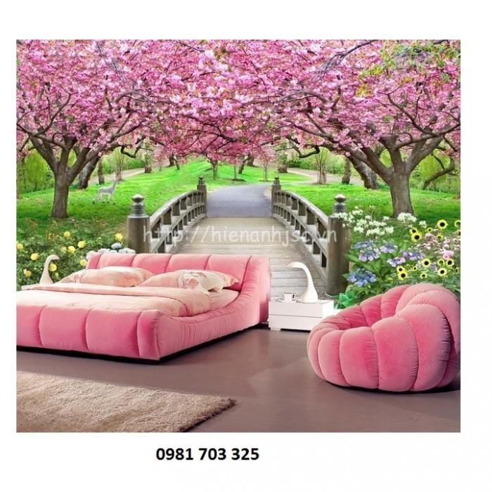 Tranh gạch 3D hoa đào ốp tường phòng khách2