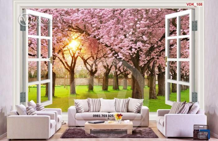 Tranh gạch 3D hoa đào ốp tường phòng khách6