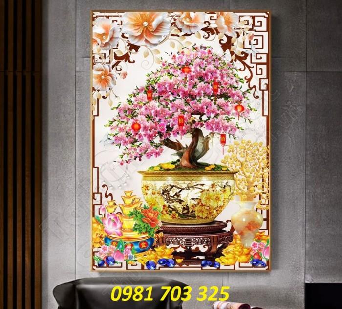 Tranh gạch 3D hoa đào ốp tường phòng khách7