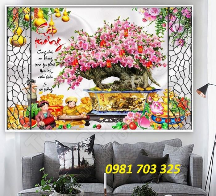 Tranh gạch 3D hoa đào ốp tường phòng khách8