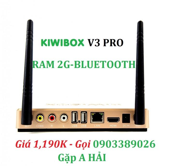 KIWIBOX V3 PRO kết nối qua tivi cổng AV hoặc HDMI, tích hợp 2 cổng USB 2.0, cổng cắm mạng