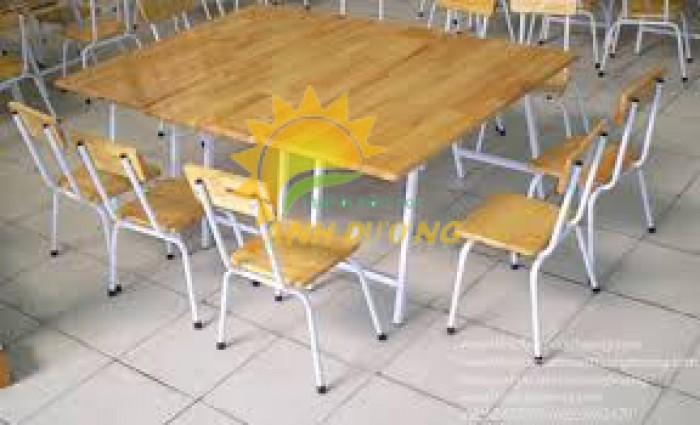 Bàn gỗ hình chữ nhật gập chân dành cho trẻ em mẫu giáo, mầm non