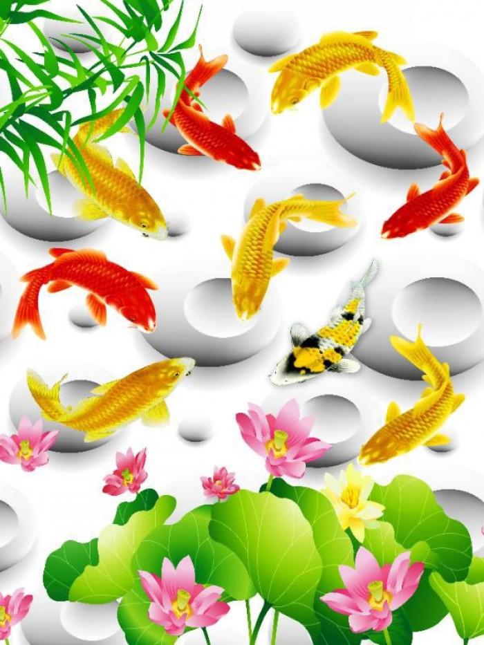 Gạch tranh dán tường 3d đàn cá chép - DK892