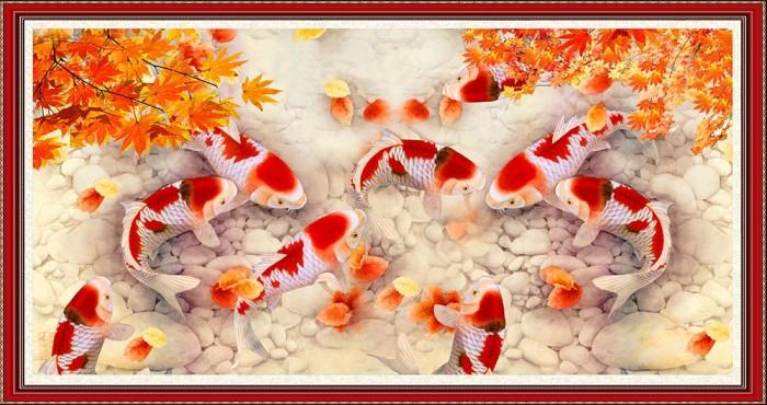 Gạch tranh dán tường 3d đàn cá chép - DK894