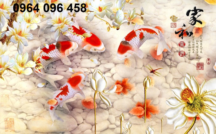 Gạch tranh dán tường 3d đàn cá chép - DK896