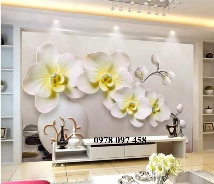 Tranh dán tường - tranh gạch hoa lan