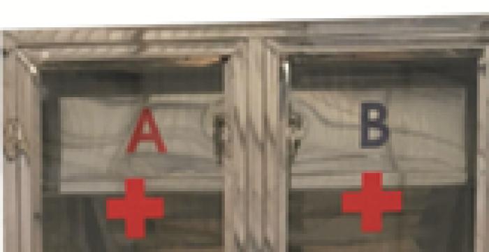 Tủ đựng thuốc y tế chia 2 ngăn A, B0