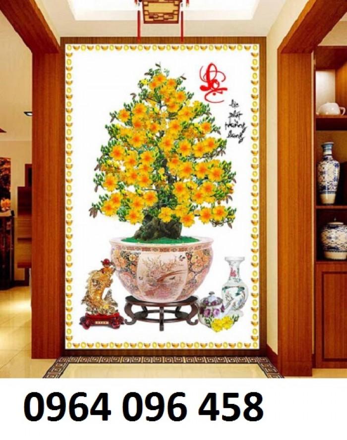 Tranh 3d cây mai - gạch tranh cây mai 3d - DK644