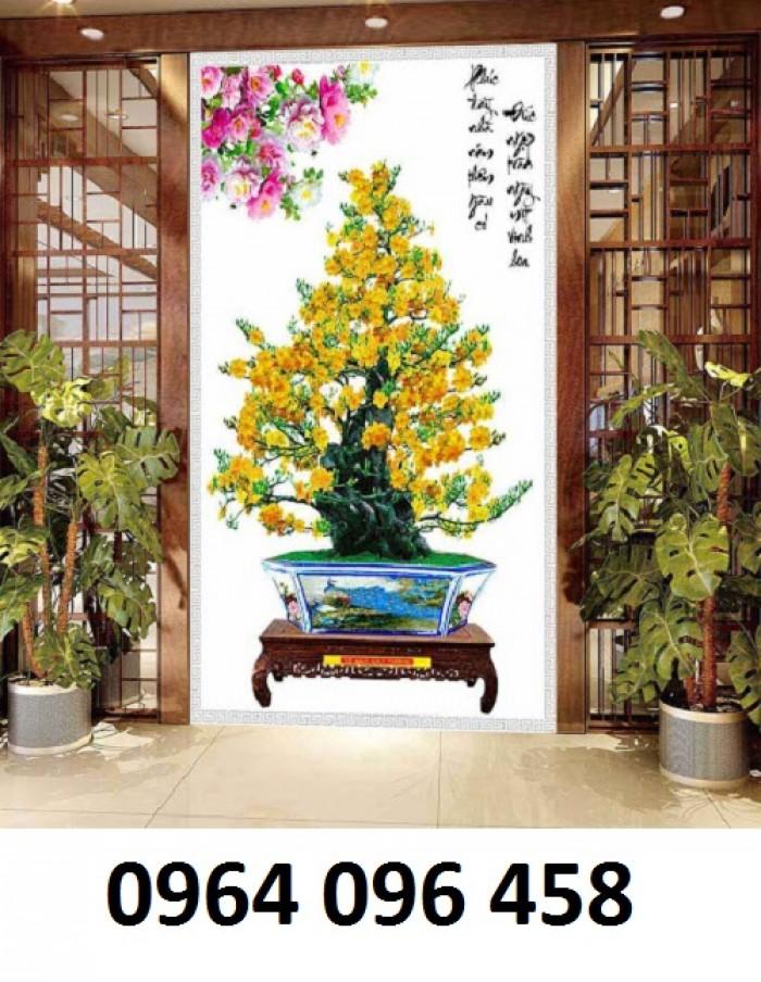 Tranh 3d cây mai - gạch tranh cây mai 3d - DK643