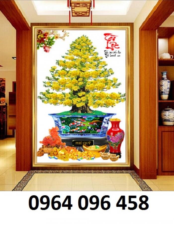 Tranh 3d cây mai - gạch tranh cây mai 3d - DK645