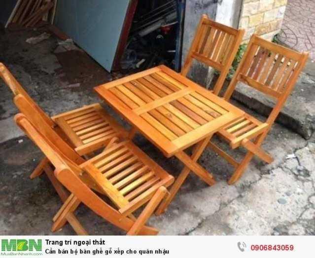 Cần bán bộ bàn ghế gỗ xếp cho quán nhậu0