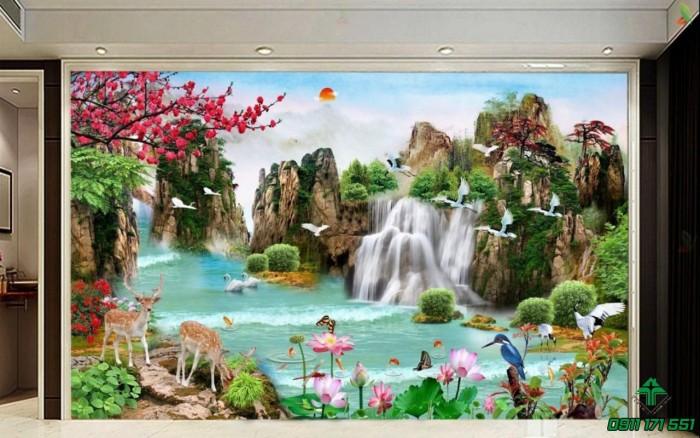 Mẫu tranh dán tường 3d cảnh thiên nhiên - DK890