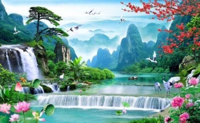 Mẫu tranh dán tường 3d cảnh thiên nhiên - DK891