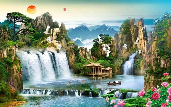 Mẫu tranh dán tường 3d cảnh thiên nhiên - DK892