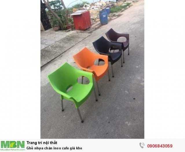 Ghế nhựa chân inox cafe giá kho0