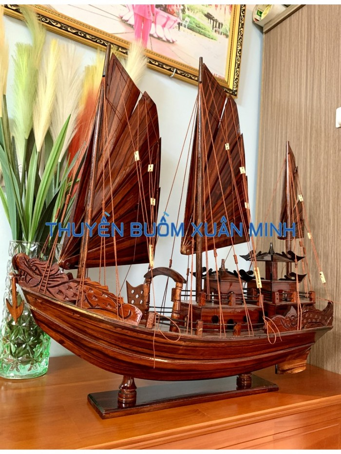 Mô Hình Thuyền Buồm Gỗ Hạ Long Rồng | Gỗ Tràm | Thân 80cm8