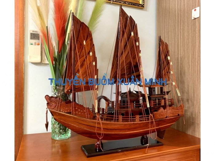Mô Hình Thuyền Buồm Gỗ Hạ Long Rồng | Gỗ Cẩm Lai | Thân 60cm9